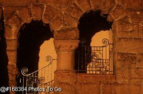 Archways in stone wall